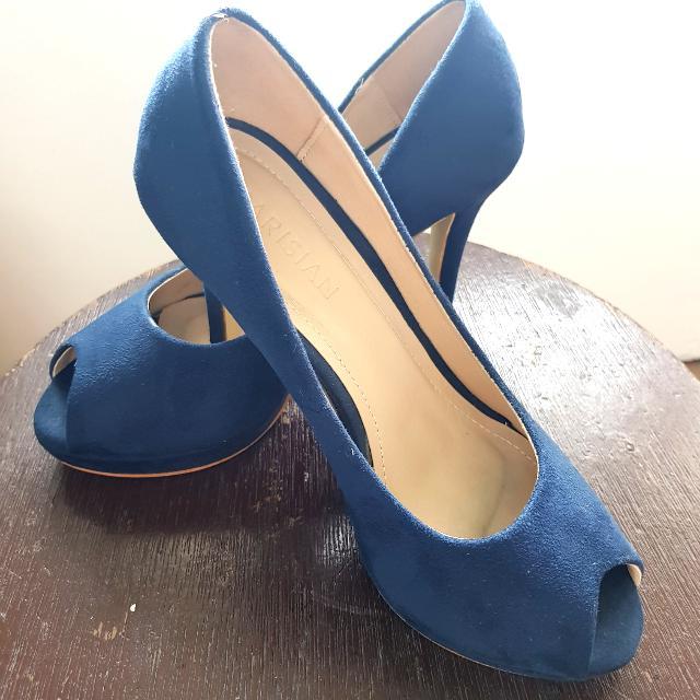 Navy Blue Suede Peep-Toe Heels