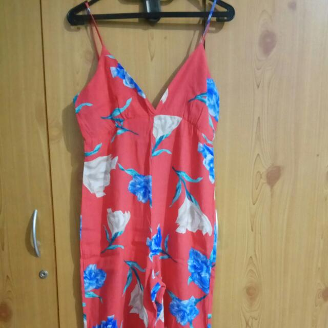 One Strap Flowery Jumpsuit