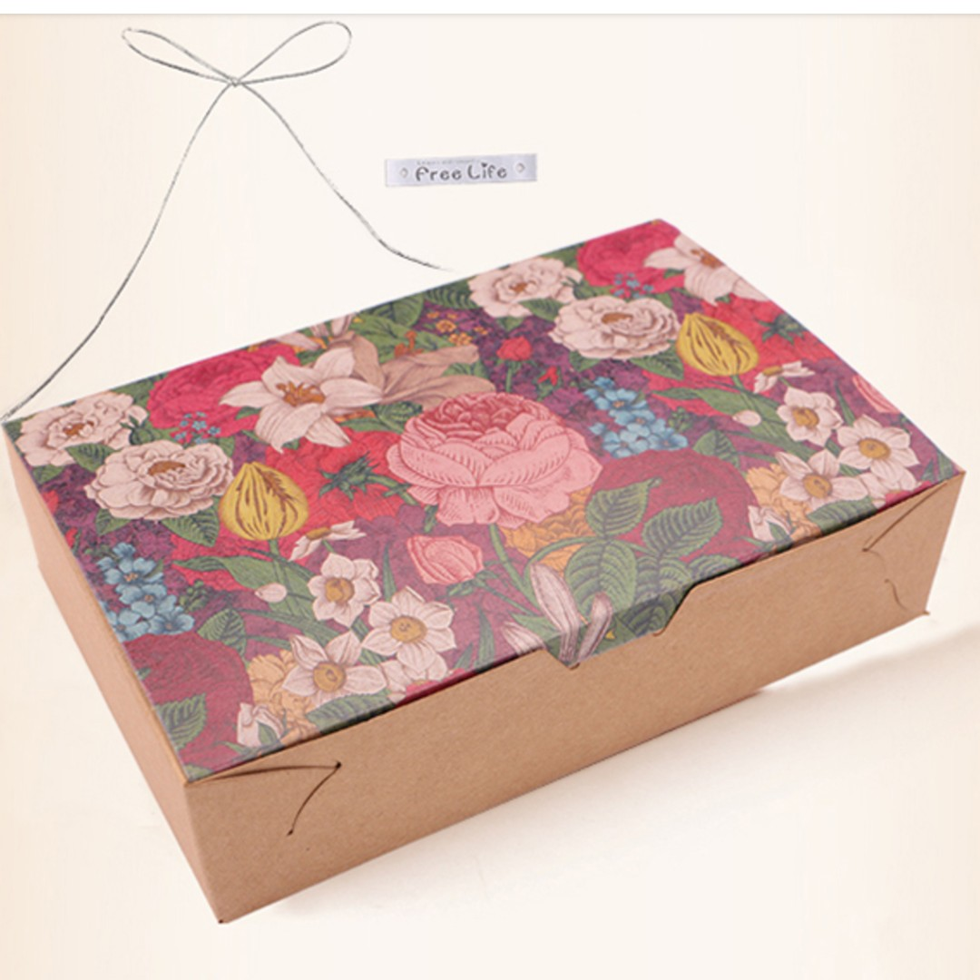 Oui.abi [Ready Stock] Beautiful Flora cake mooncake kraft box cake ...