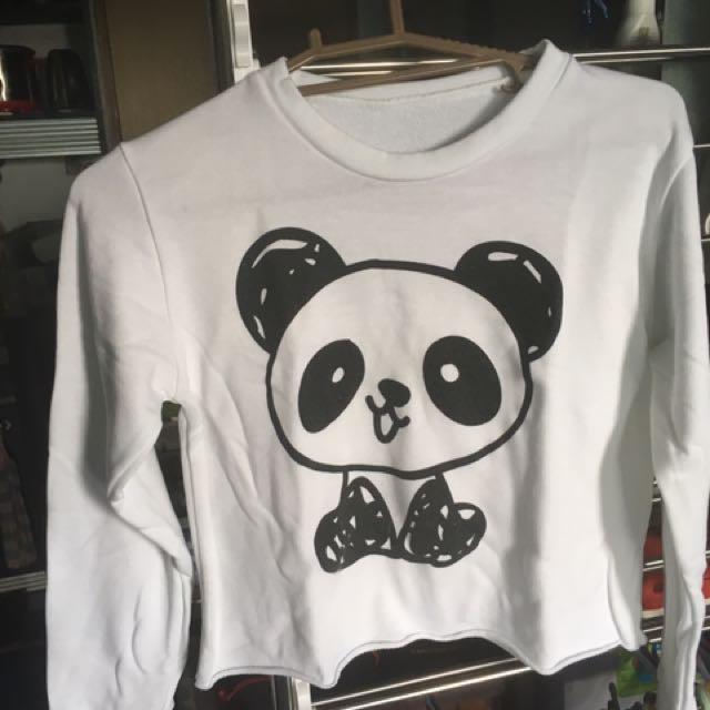 Panda Long Sleeved Crop Top