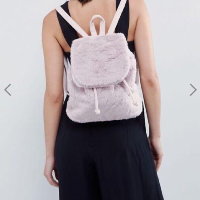 Pink Fluffy Backpack