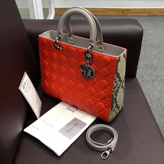 *Rare* Lady Dior Large Python Bicolor Limited