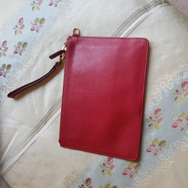 Red MCM small Wristlet Clutch