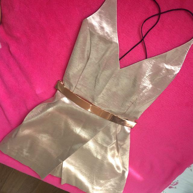 Rose Gold Dress With Belt