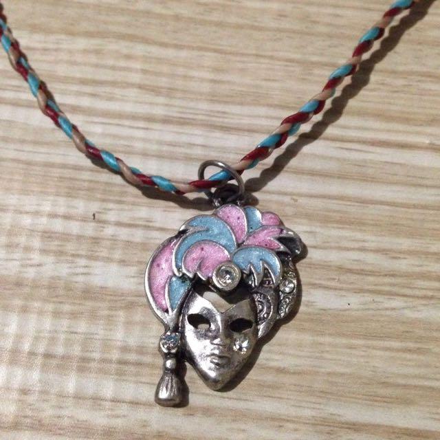Silver Maskara Necklace With Wax Chain