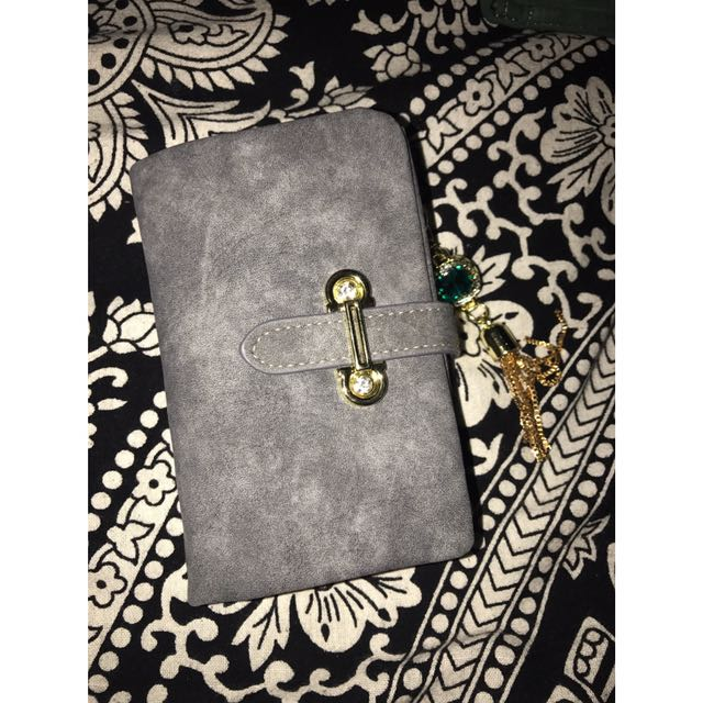 Small grey wallet / soft matte suede material w/ tassel pendant