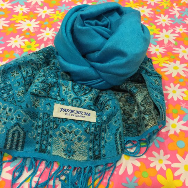 Turquoise Pashmina Scarf With Patterns