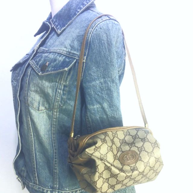 Vtg Auth GUCCI Monogram style Bucket Hand Bag for Her