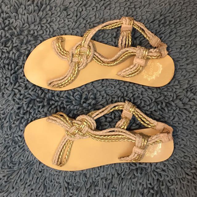 White & Gold Boho Sandals