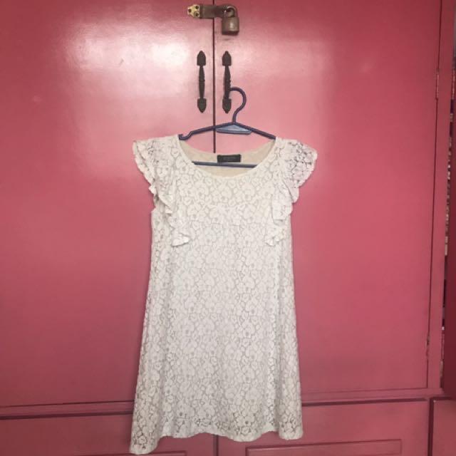 White Casual Dress - Free Size