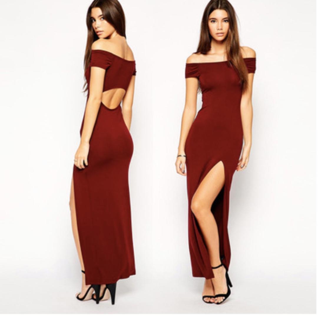 4d7466fc9160 Wine Red Off Shoulder Maxi Dress
