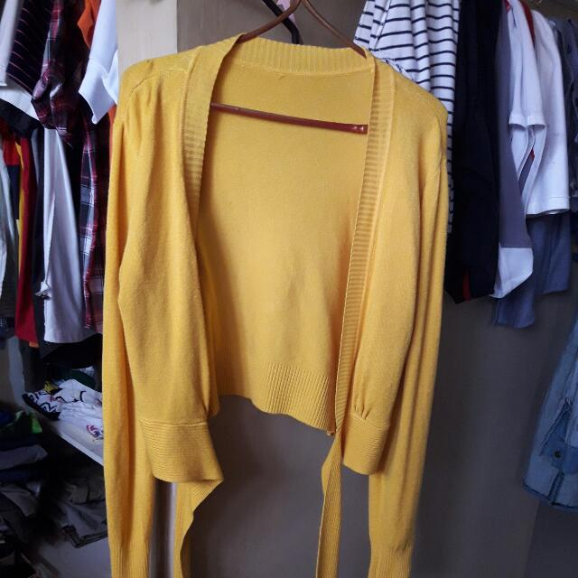 Yellow Cardigan With Tie