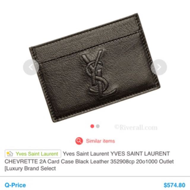 differently 14dbc a92c2 YVES SAINT LAURENT CHEVRETTE 2A Card Case Black Leather 352908cp