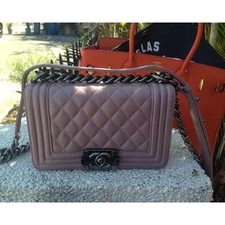 Light Pink Chanel Le Boy Flap Lambskin chain bag