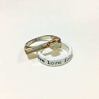 TOPSHOP Double Love Rings