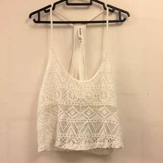 Aeropostale White Crochet Crop Top - L