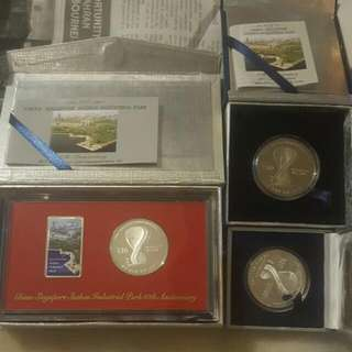 China - Suzhou Industrial Park $10 Silver Proof Commemorative Set Mintage : 610 Nos    Very Rare $10 Commemorative Cupro Nickle Coin Mintage : 7000pcs $10 Commemorative Silver Proof (Single) Mintage :5000pcs. For Sharing.
