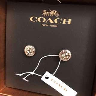 Coach圓形水鑽耳針耳環