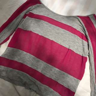Grey And Pink Striped Long Sleeve