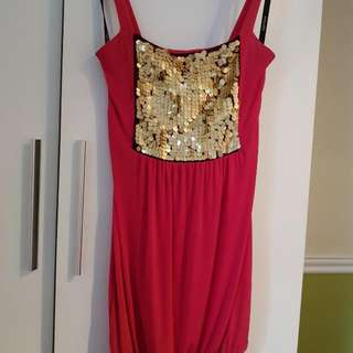Baby Phat Pink and Gold Mini Dress