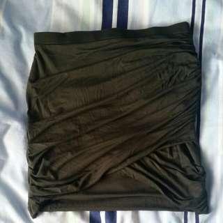 Khaki Body Con Skirt. Size S