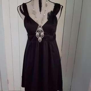 Baby Doll Dress Satin Black Size 12