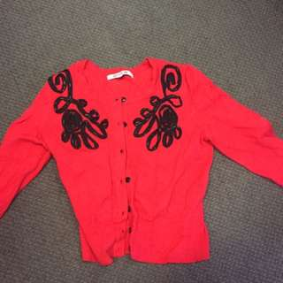 Red Cardigan Review Size 8