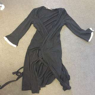Review Black And Polka For Sleeve Wrap Round Dress Size 8