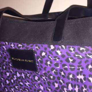 Victoria Secret Large Purple and Black Leopard Tote