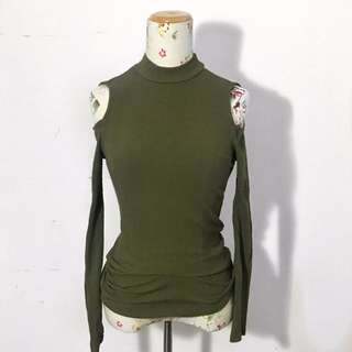 Olive Green Turtle Neck Cold Shoulder Long Sleeve