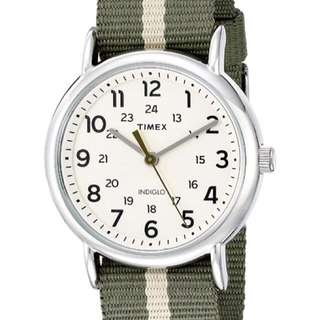 ⌚️AUTHENTIC TIMEX Green/Tan Stripe Nylon Slip-Thru Strap Watch