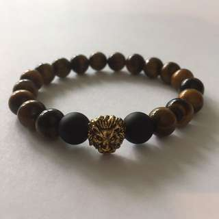 Men's Stretch Bracelet - Tiger Eye/Lion Head