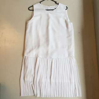 White MNG Dress With Pleated Skirt Size S