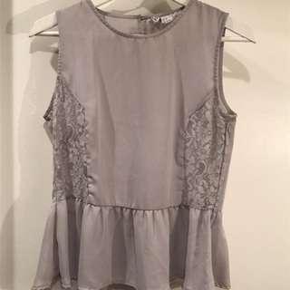 H&M Blue/Grey Lace Panelled Sleeveless Peplum Blouse