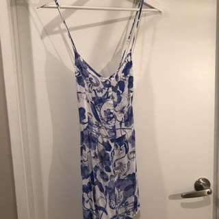H&M Blue and White Floral Romper
