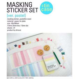 27 sheets - MASKING STICKER SET IN TIN CAN