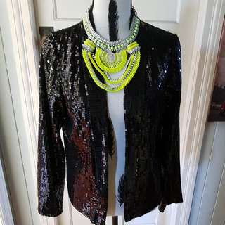 Black Sequin Jacket Size 12-14 Never Worn. Great Piece