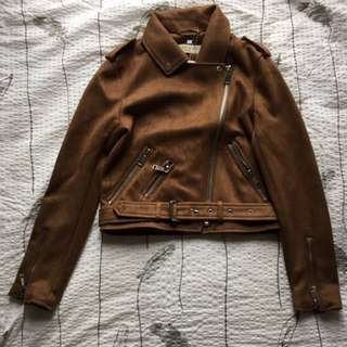 Deep Brown Faux Leather Biker Jacket