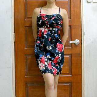 Black Bustier Floral Dress