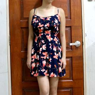 Cotton On Ruffled Orange Floral Spaghetti Strap Dress