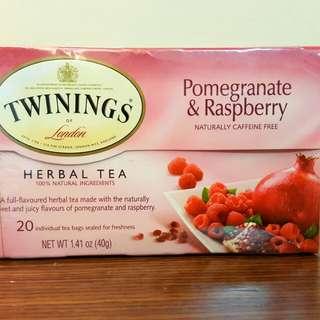 國外版英國Twinings唐寧茶,紅石榴和覆盆莓茶  無咖啡因 超好喝 台灣買不到 20包