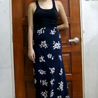 Dark Navy Blue Maxi Skirt with White Floral Pattern