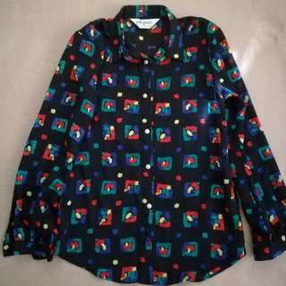PEACOCK COLORED THICK CHIFFON TOP