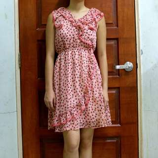 H&M Leopard Print Coral Dress with Ruffles