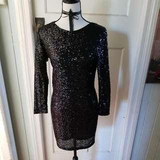 Black Sequin Dress Size 12 H&M Never Worn