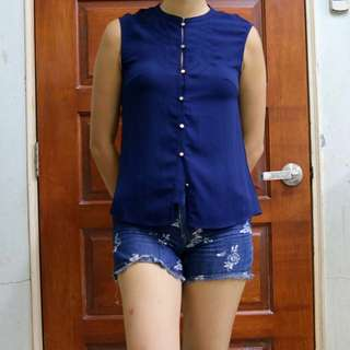 Navy Blue Button Up Sleeveless Top
