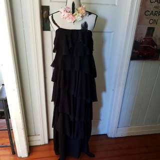 Layered Strapless Dress Size 10 Great Festival Dress Black