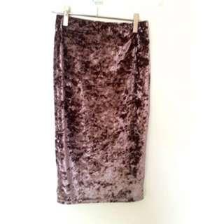 Velvet pencil skirt (S)