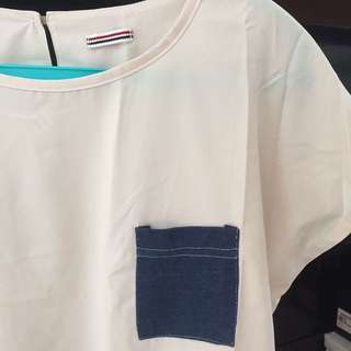 Cream Top With Pocket