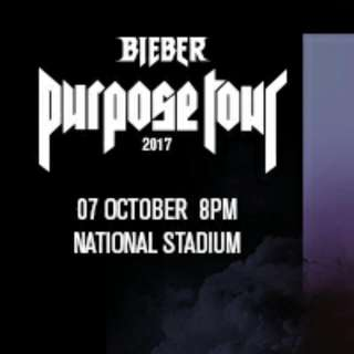 Justinel Bieber Purpose Tour LIVE Cat 2 Row D ticket